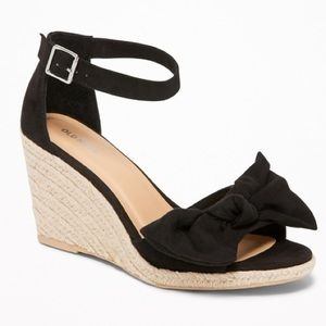Old Navy Black Suede Bow Espadrille Wedge